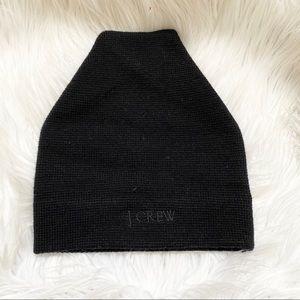 J. Crew black 100% merino wool beanie hat